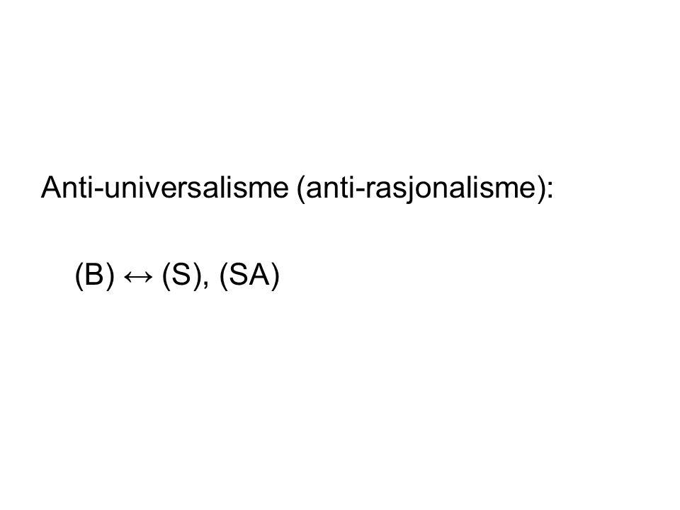 Anti-universalisme (anti-rasjonalisme):