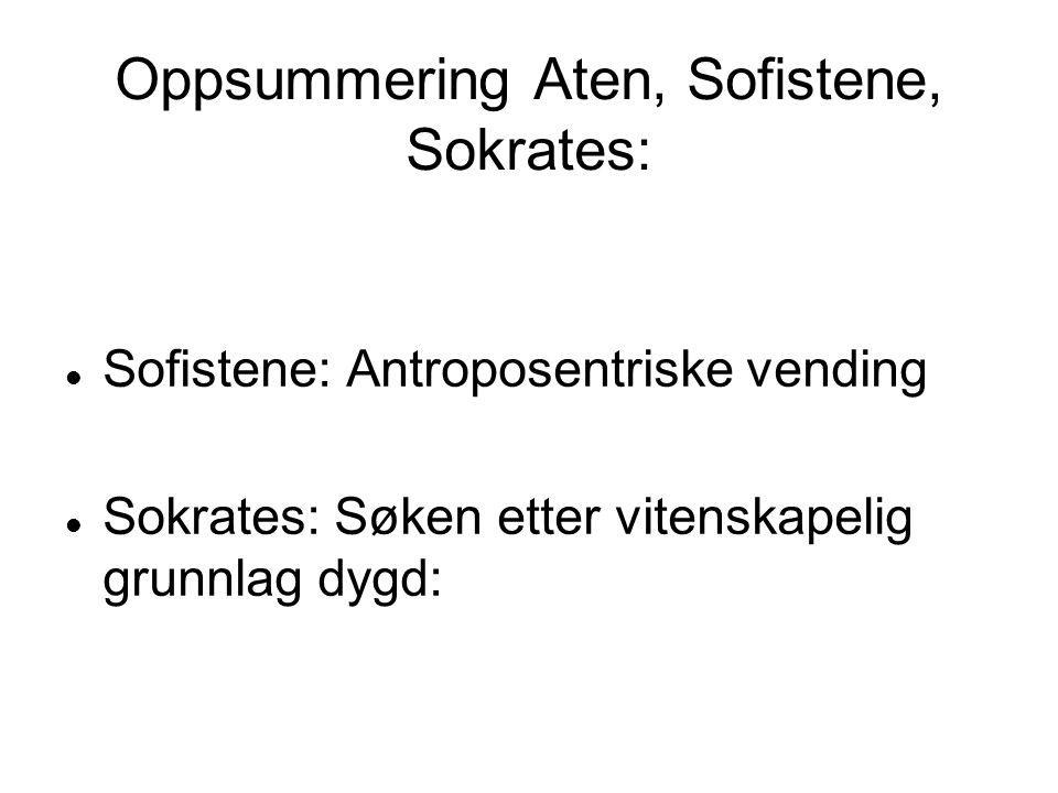 Oppsummering Aten, Sofistene, Sokrates: