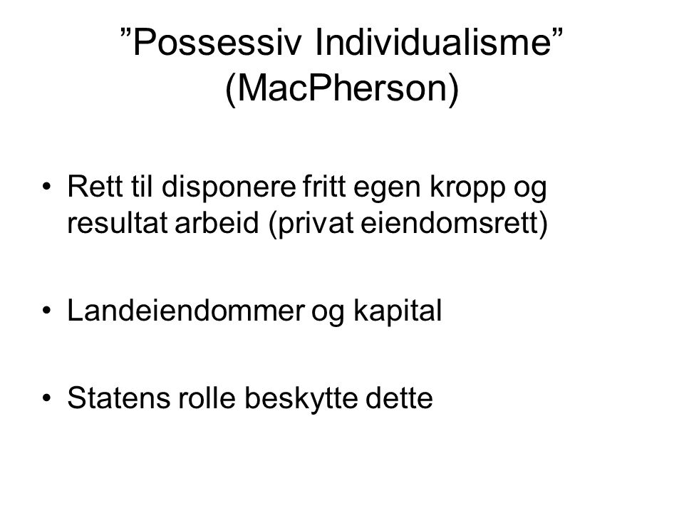 Possessiv Individualisme (MacPherson)