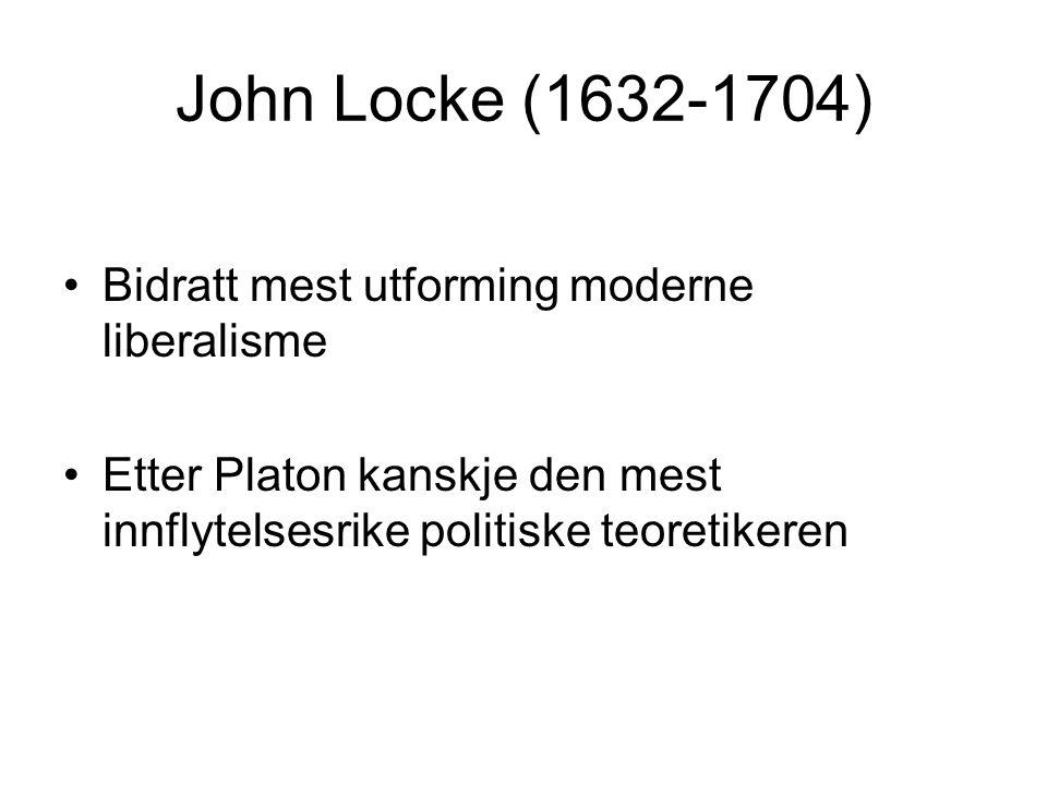 John Locke (1632-1704) Bidratt mest utforming moderne liberalisme