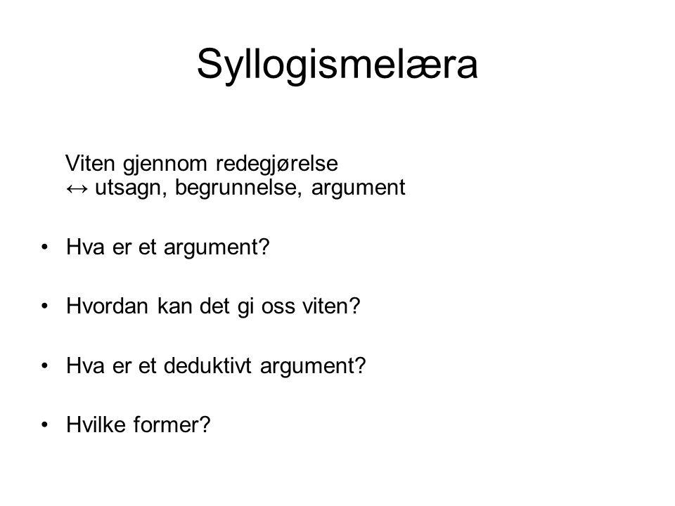 Syllogismelæra Viten gjennom redegjørelse ↔ utsagn, begrunnelse, argument.