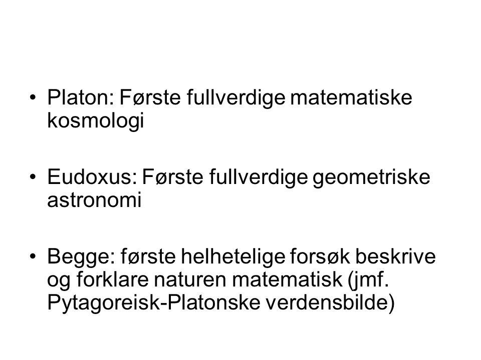 Platon: Første fullverdige matematiske kosmologi