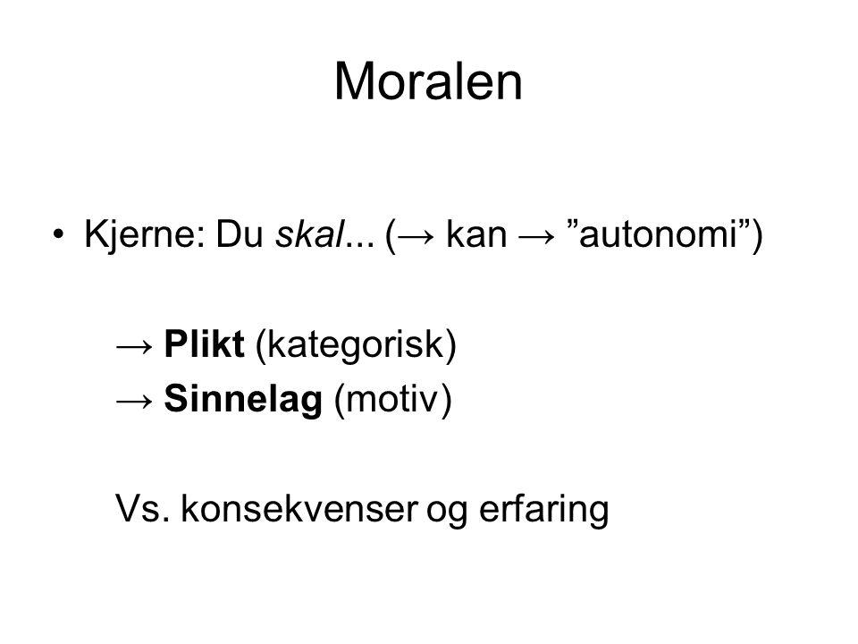 Moralen Kjerne: Du skal... (→ kan → autonomi ) → Plikt (kategorisk)