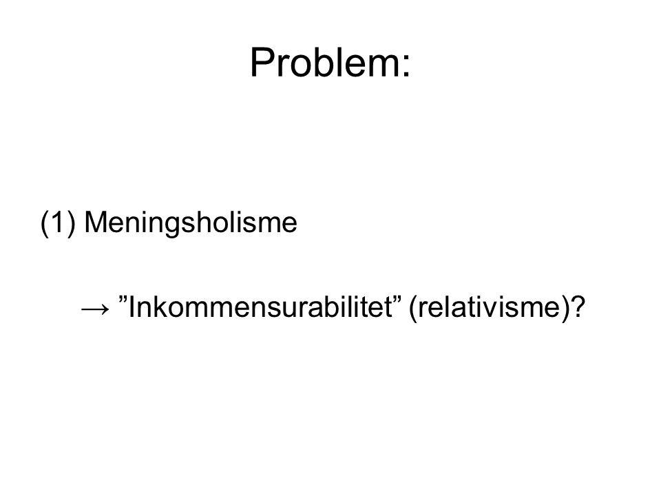 Problem: Meningsholisme → Inkommensurabilitet (relativisme)