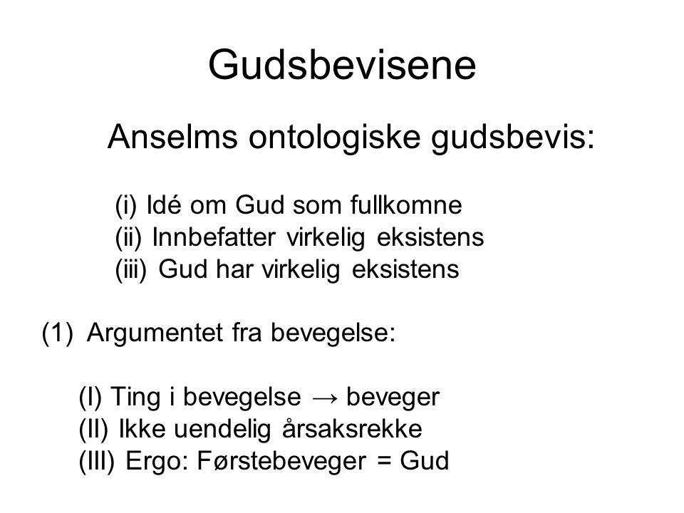Gudsbevisene Anselms ontologiske gudsbevis:
