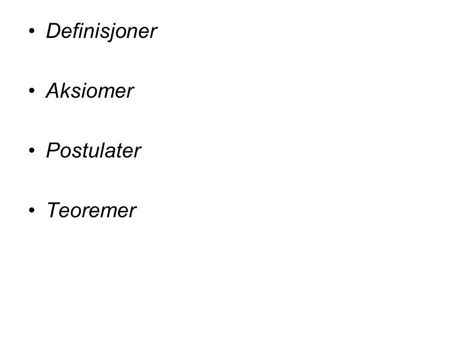 Definisjoner Aksiomer Postulater Teoremer