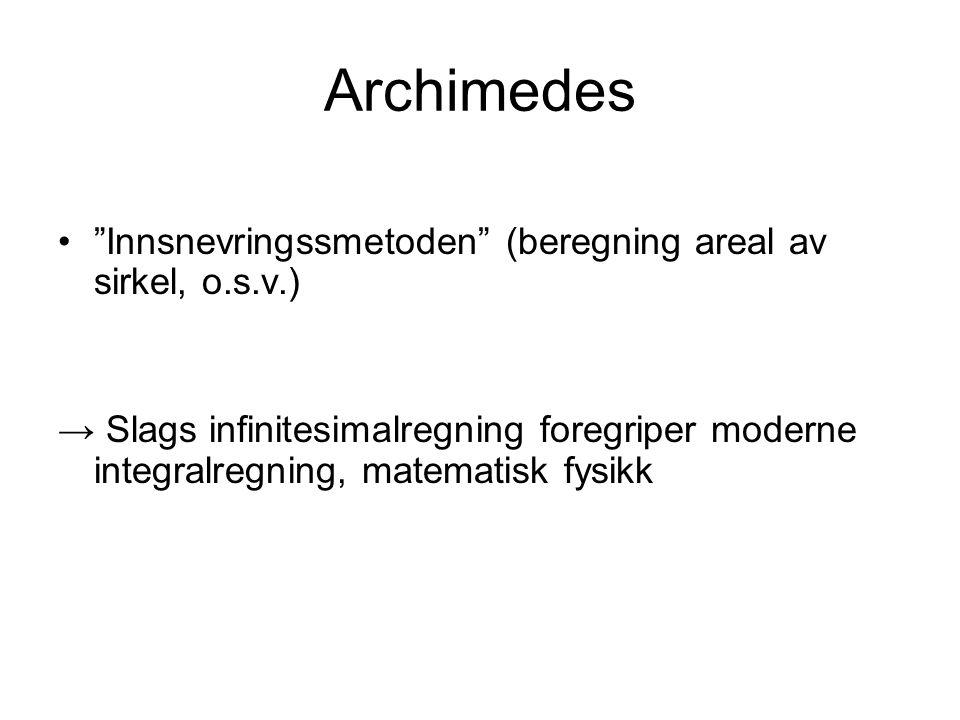 Archimedes Innsnevringssmetoden (beregning areal av sirkel, o.s.v.)