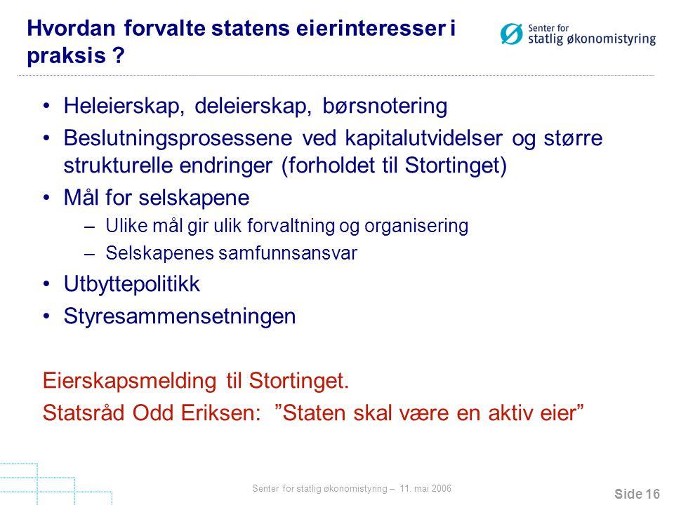 Hvordan forvalte statens eierinteresser i praksis
