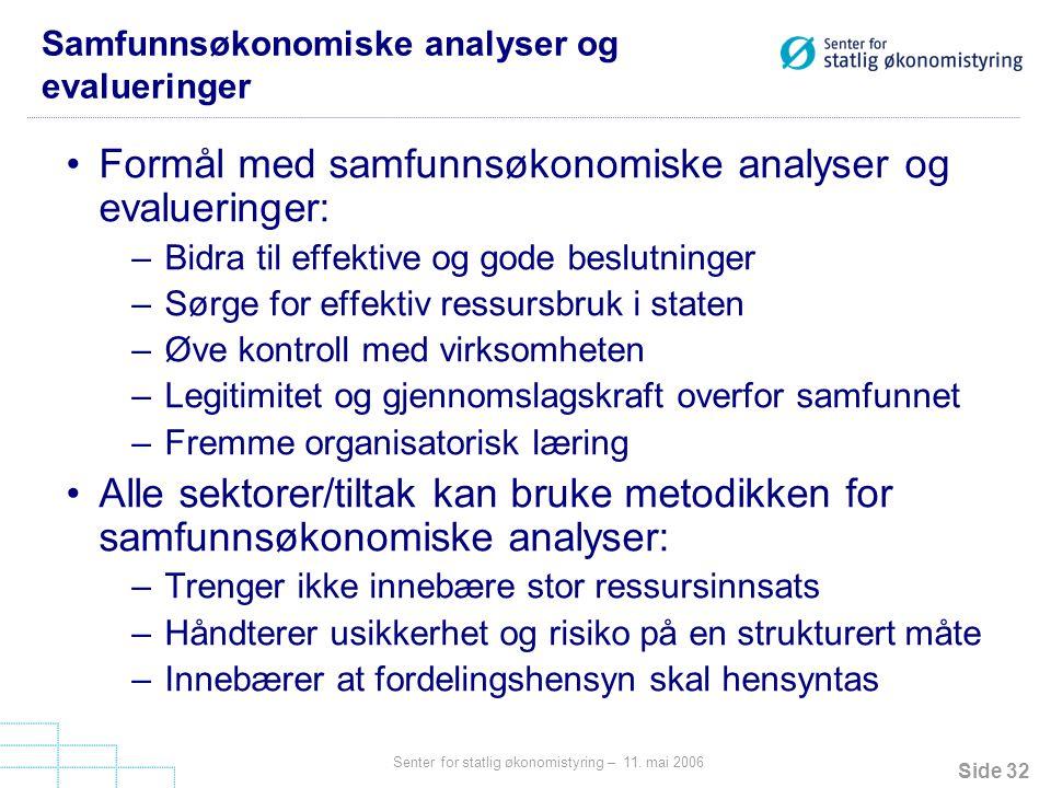 Samfunnsøkonomiske analyser og evalueringer