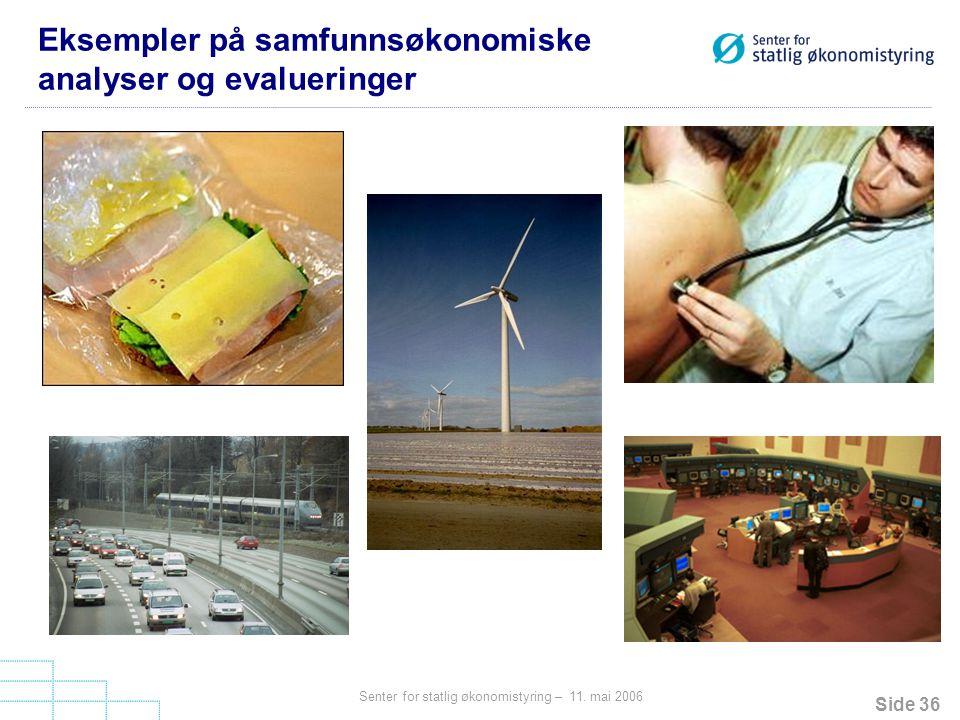 Eksempler på samfunnsøkonomiske analyser og evalueringer