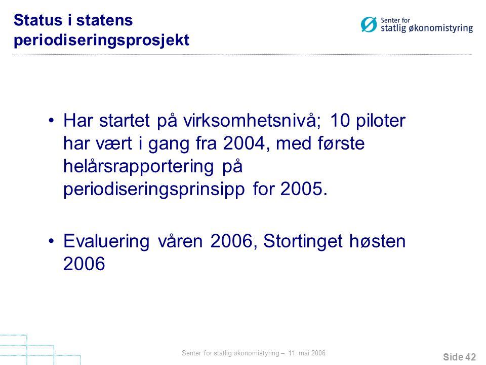 Status i statens periodiseringsprosjekt