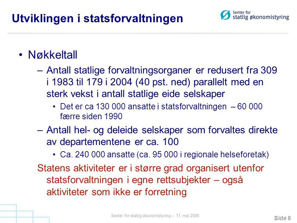 Utviklingen i statsforvaltningen