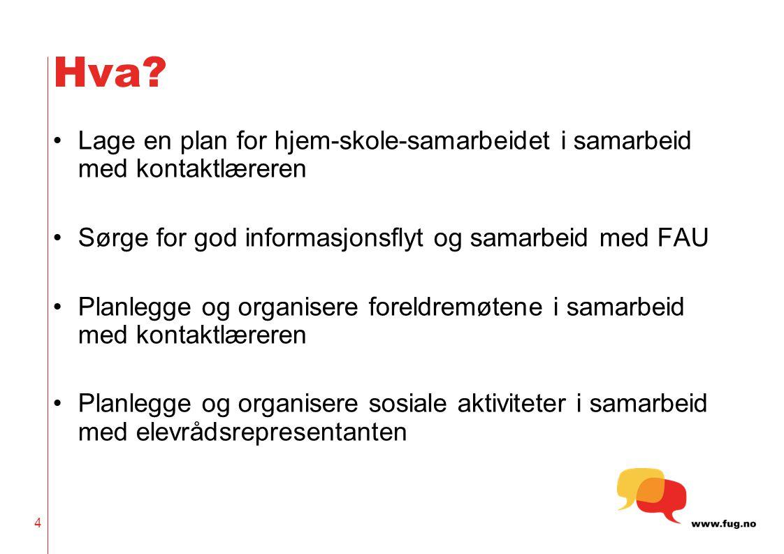 Hva Lage en plan for hjem-skole-samarbeidet i samarbeid med kontaktlæreren. Sørge for god informasjonsflyt og samarbeid med FAU.