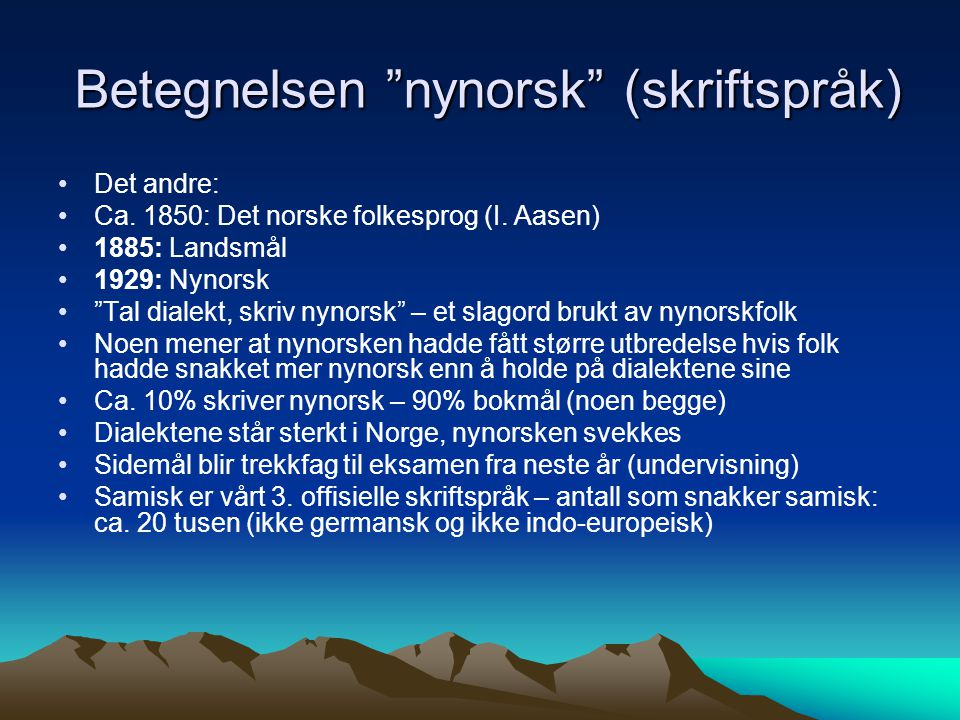 Betegnelsen nynorsk (skriftspråk)