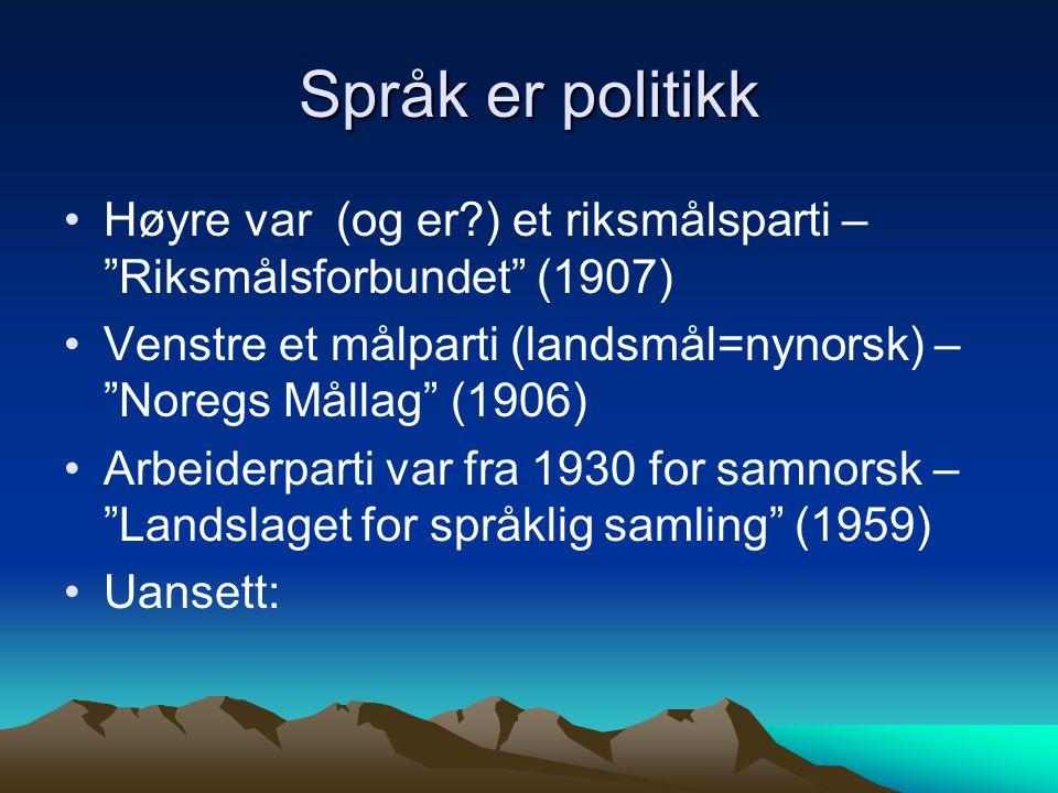 Språk er politikk Høyre var (og er ) et riksmålsparti – Riksmålsforbundet (1907) Venstre et målparti (landsmål=nynorsk) – Noregs Mållag (1906)