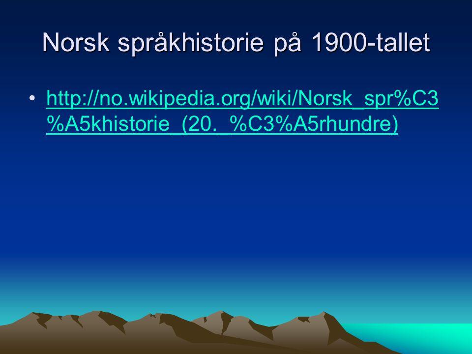 Norsk språkhistorie på 1900-tallet