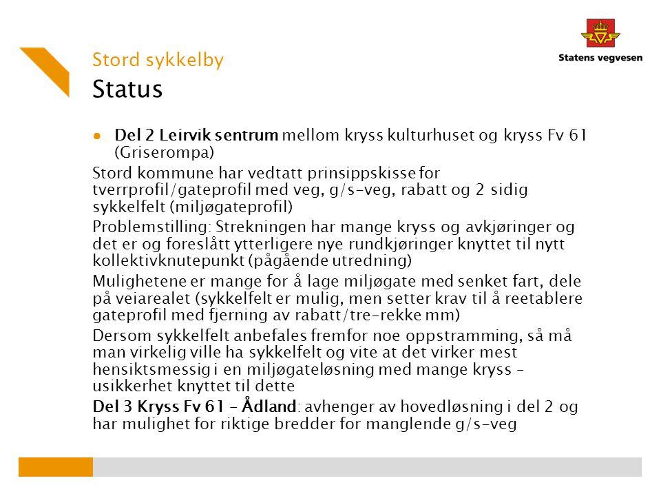Stord sykkelby Status. Del 2 Leirvik sentrum mellom kryss kulturhuset og kryss Fv 61 (Griserompa)