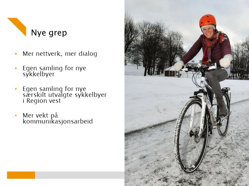 Nye grep Mer nettverk, mer dialog Egen samling for nye sykkelbyer