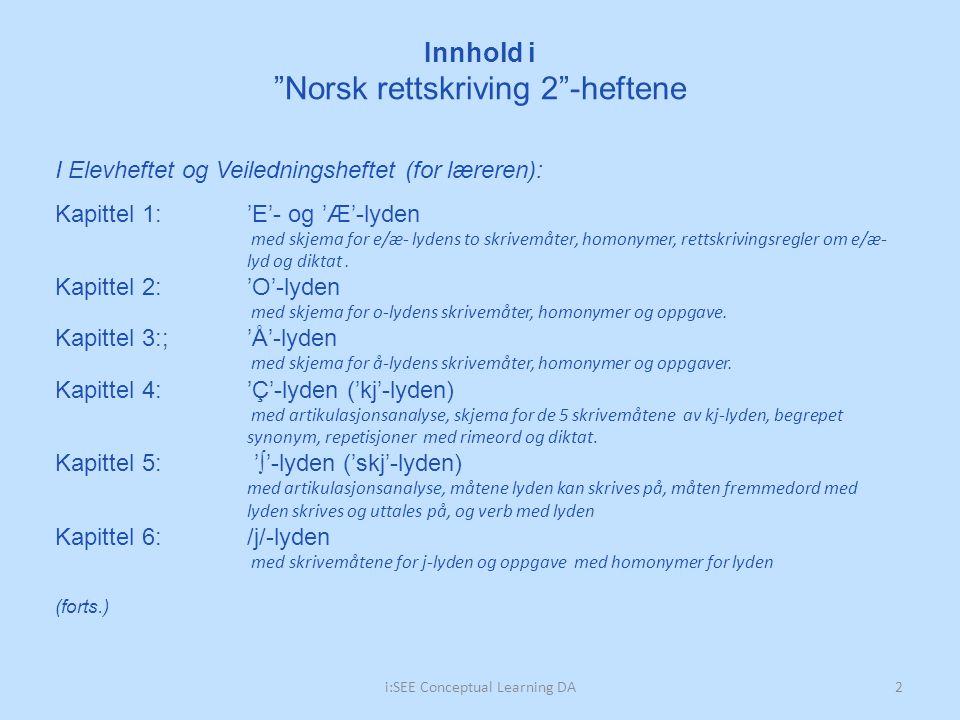 Innhold i Norsk rettskriving 2 -heftene