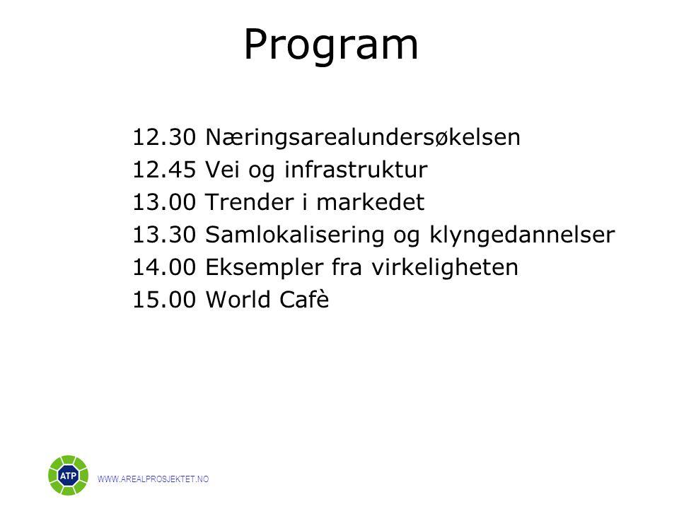 Program 12.30 Næringsarealundersøkelsen 12.45 Vei og infrastruktur