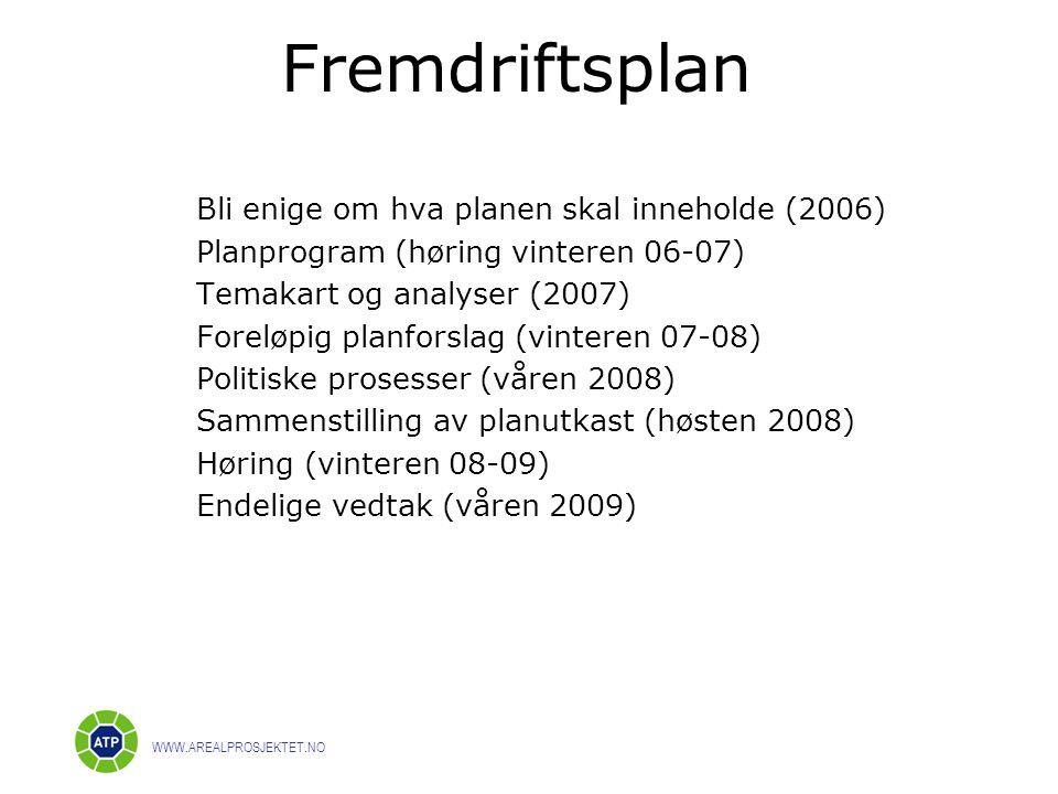 Fremdriftsplan Bli enige om hva planen skal inneholde (2006)