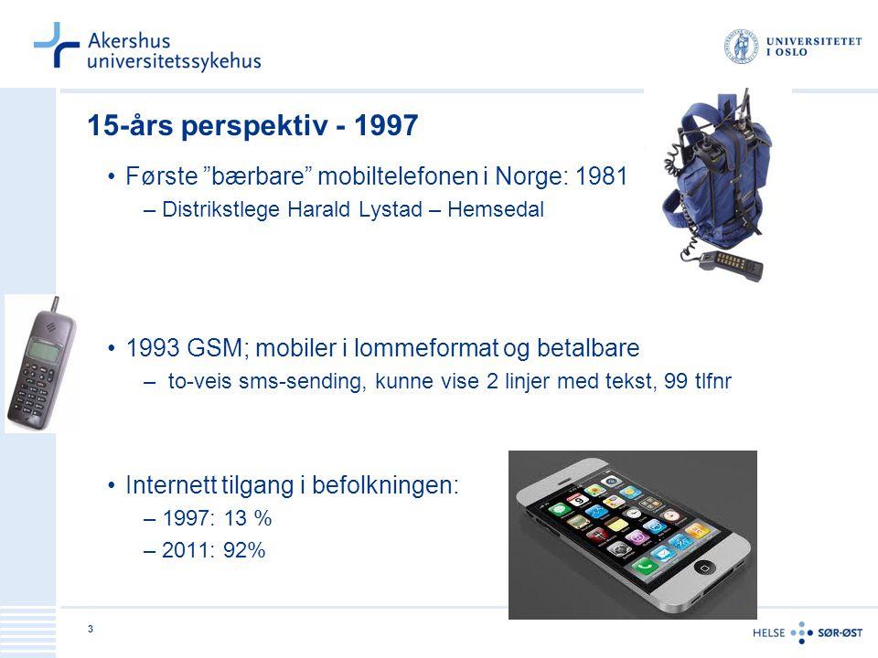 15-års perspektiv - 1997 Første bærbare mobiltelefonen i Norge: 1981
