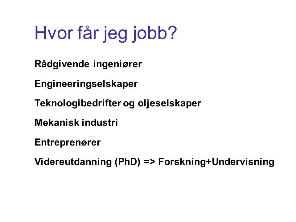 Hvor får jeg jobb Rådgivende ingeniører Engineeringselskaper