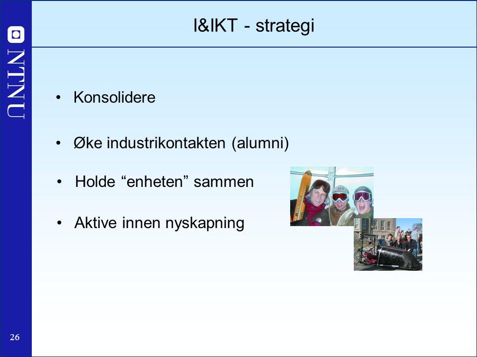 I&IKT - strategi Konsolidere Øke industrikontakten (alumni)