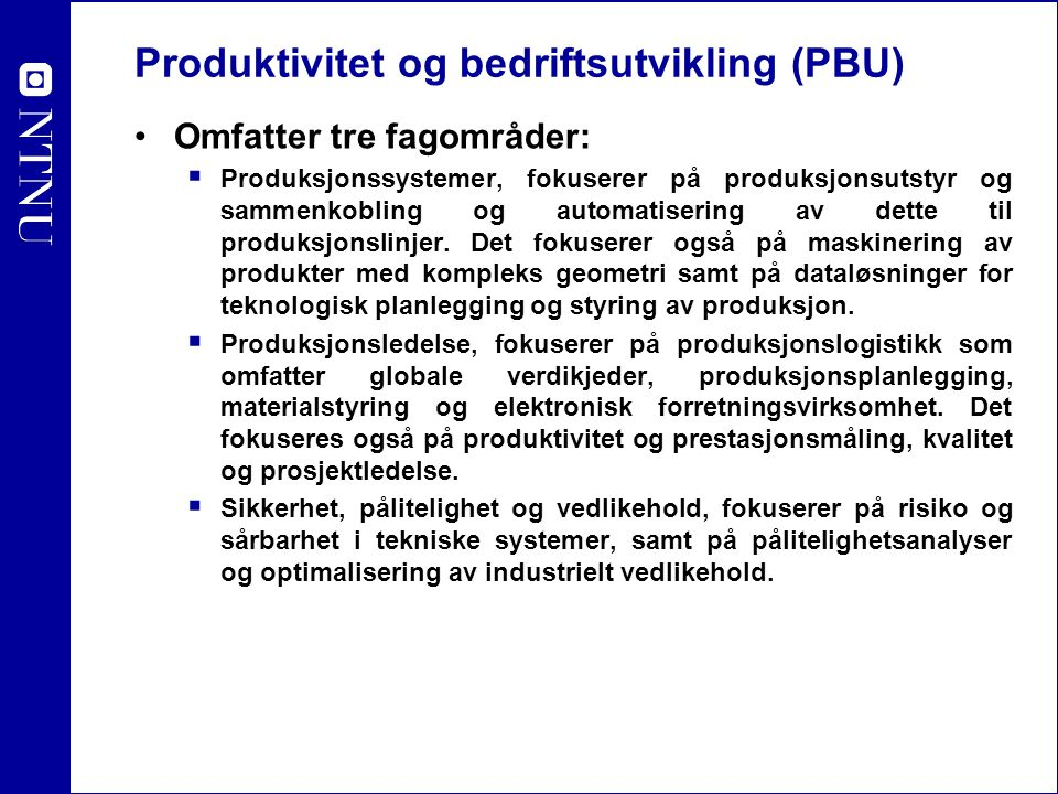 Produktivitet og bedriftsutvikling (PBU)