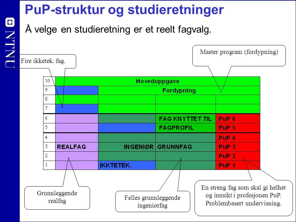 PuP-struktur og studieretninger