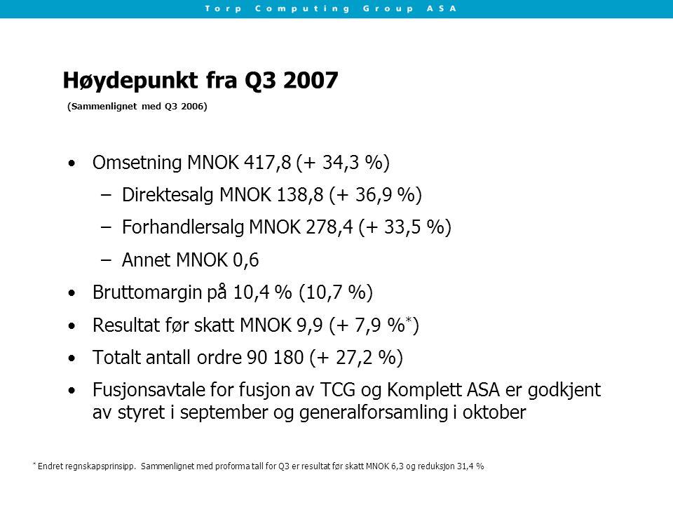 Høydepunkt fra Q3 2007 Omsetning MNOK 417,8 (+ 34,3 %)