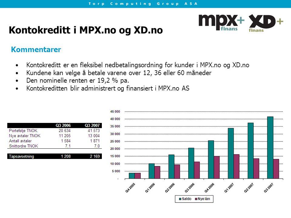 Kontokreditt i MPX.no og XD.no