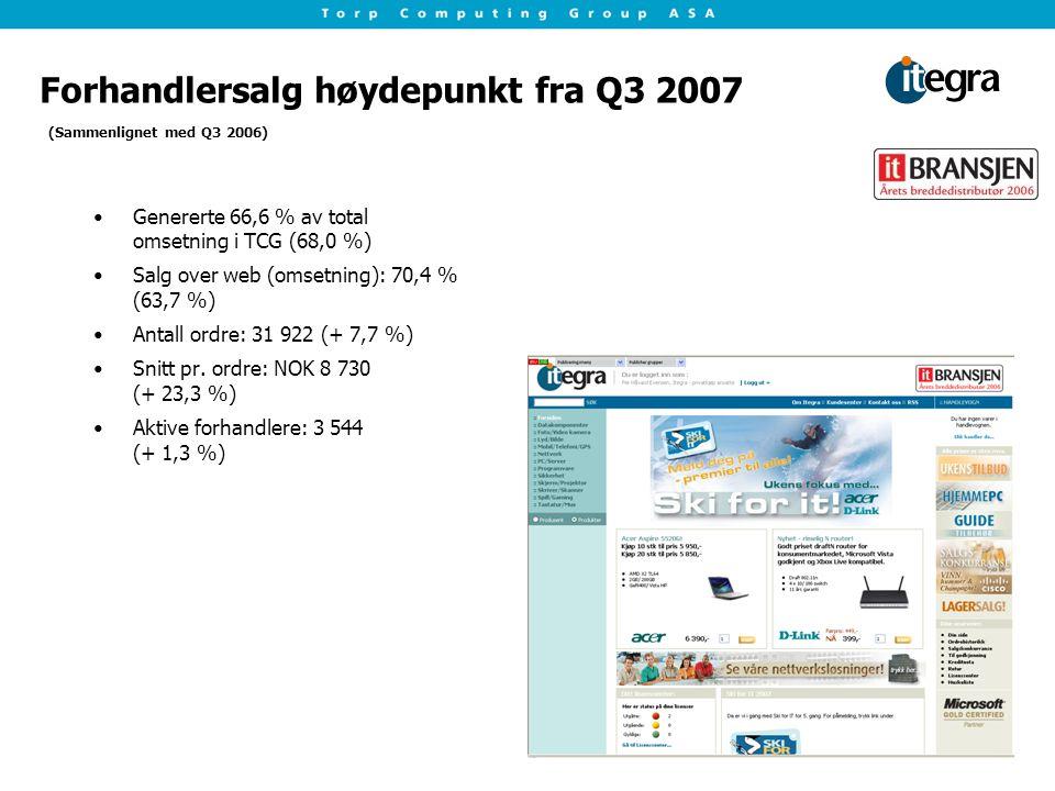 Forhandlersalg høydepunkt fra Q3 2007