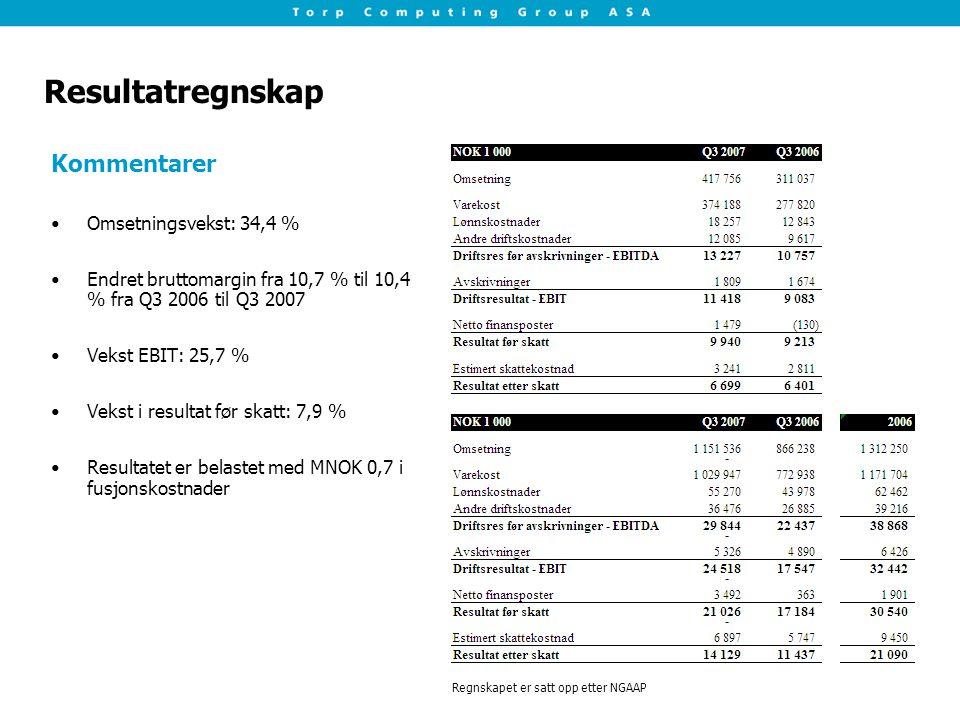 Resultatregnskap Kommentarer Omsetningsvekst: 34,4 %