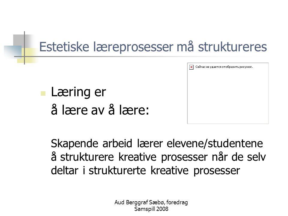 Estetiske læreprosesser må struktureres
