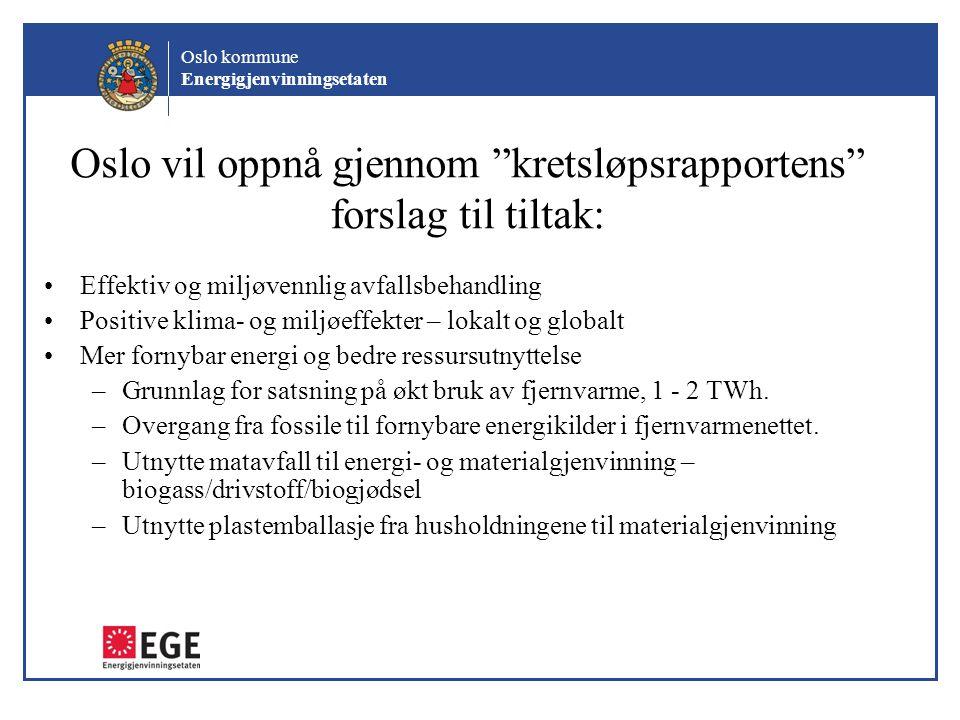 Oslo vil oppnå gjennom kretsløpsrapportens forslag til tiltak: