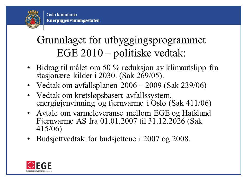Grunnlaget for utbyggingsprogrammet EGE 2010 – politiske vedtak: