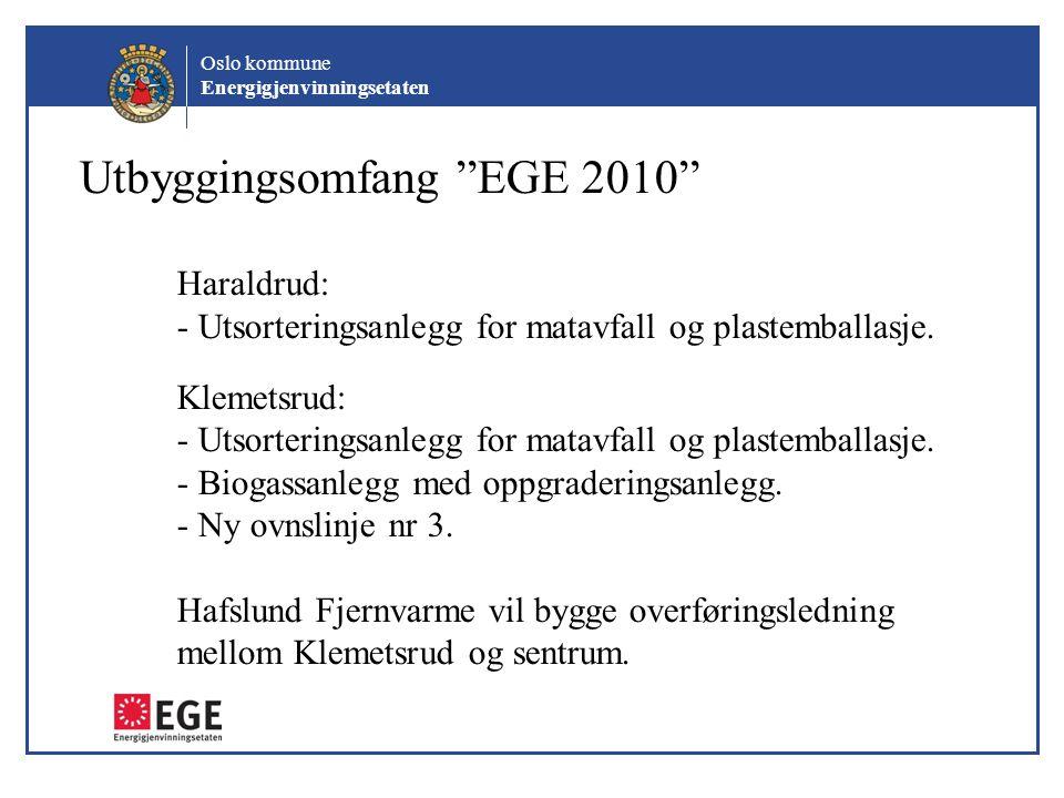 Utbyggingsomfang EGE 2010 Haraldrud: - Utsorteringsanlegg for matavfall og plastemballasje.
