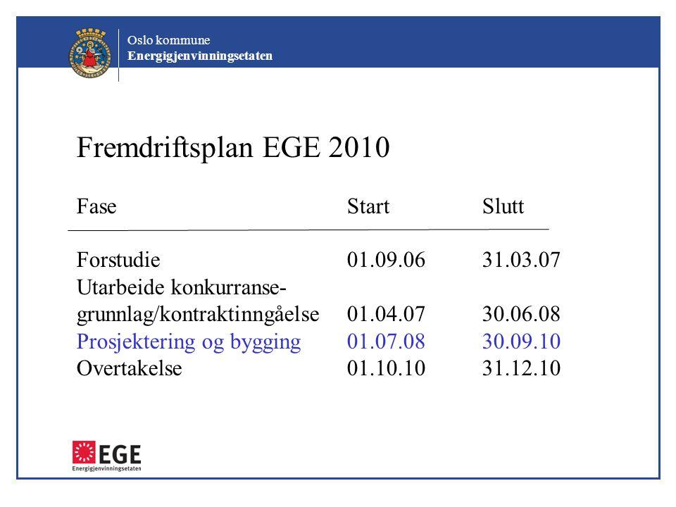 Fremdriftsplan EGE 2010 Fase Start Slutt