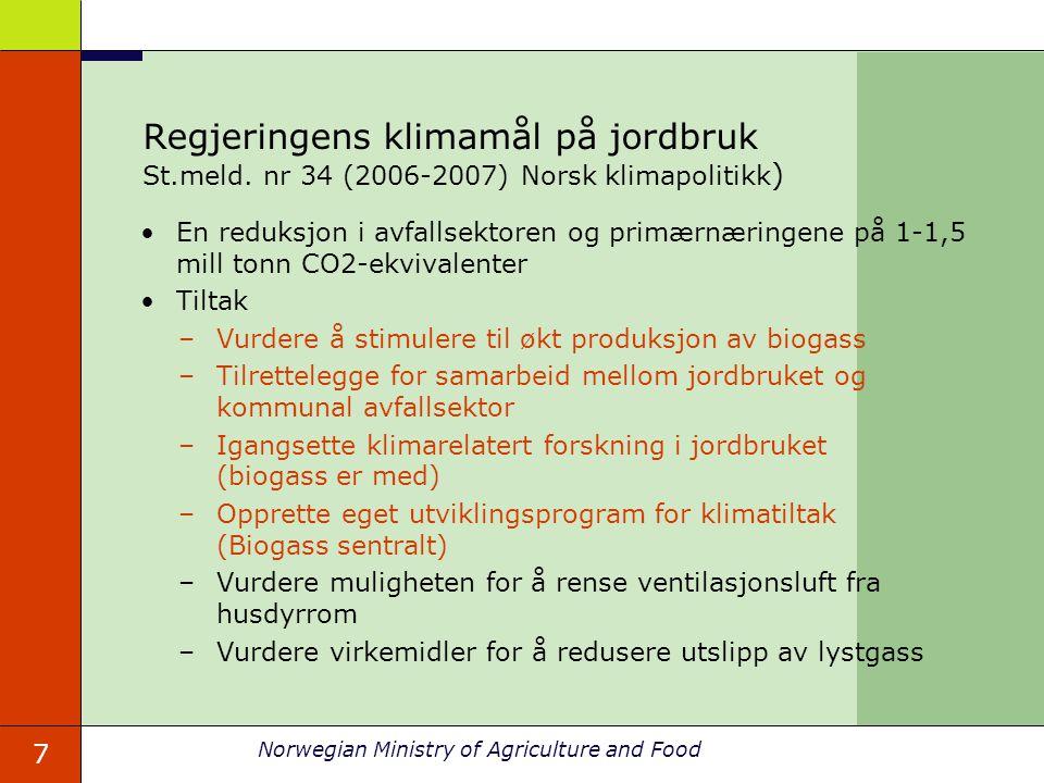 Regjeringens klimamål på jordbruk St. meld