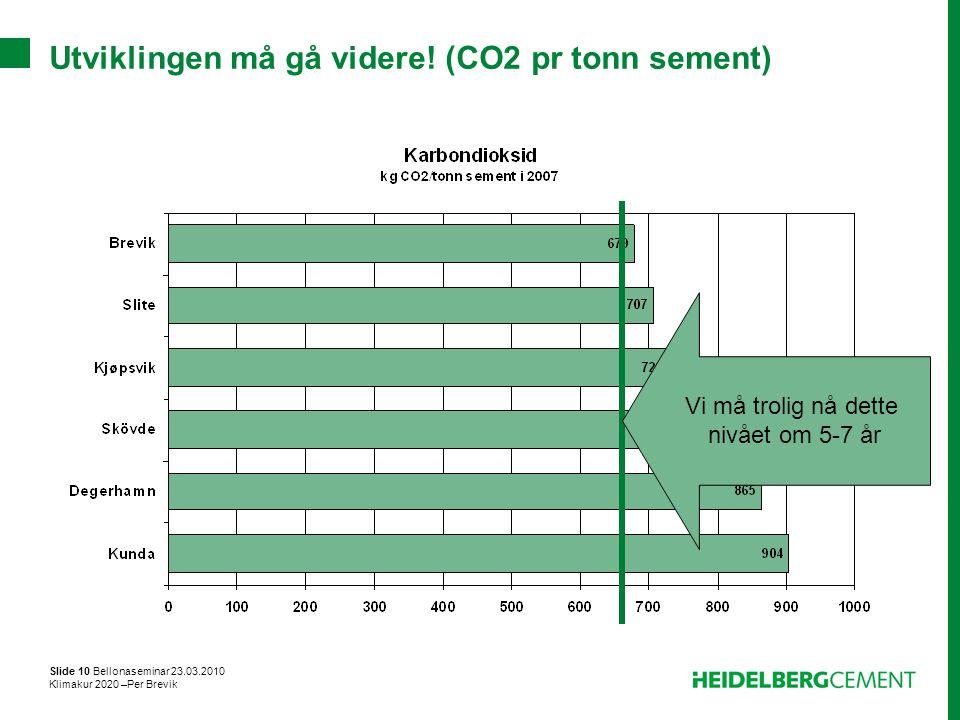 Utviklingen må gå videre! (CO2 pr tonn sement)