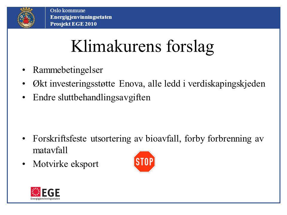 Klimakurens forslag Rammebetingelser