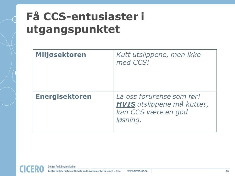 Få CCS-entusiaster i utgangspunktet