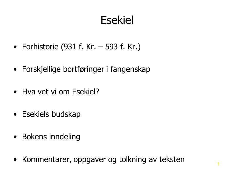 Esekiel Forhistorie (931 f. Kr. – 593 f. Kr.)