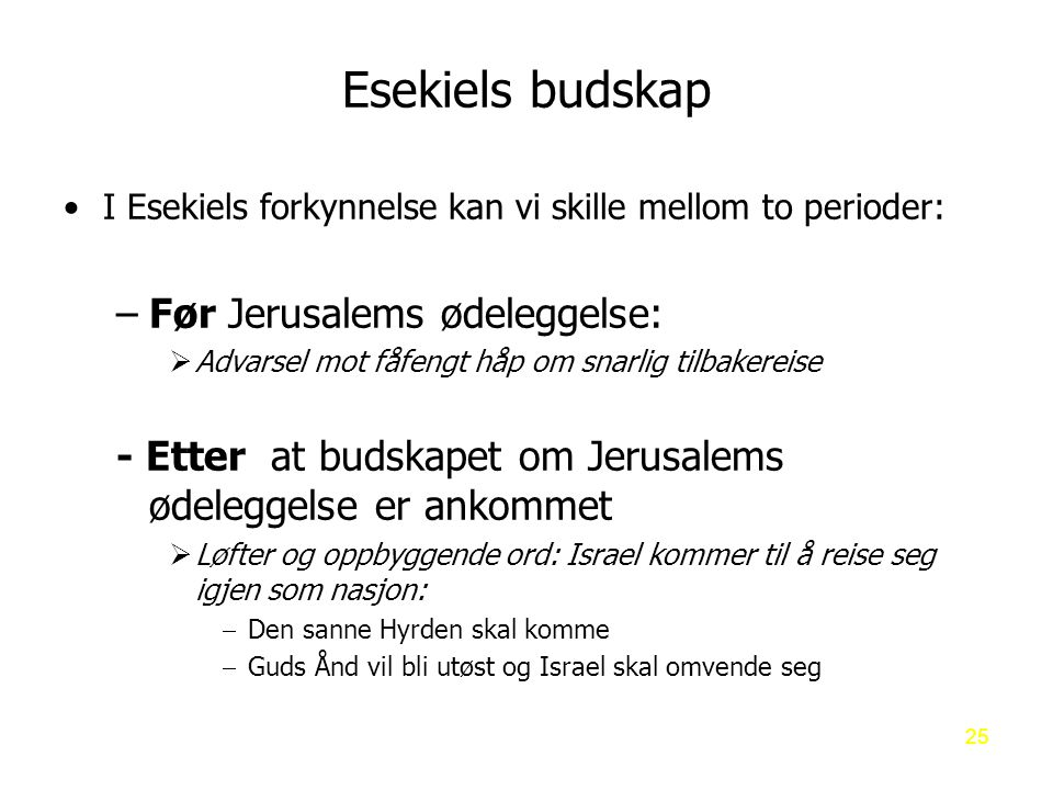 Esekiels budskap Før Jerusalems ødeleggelse: