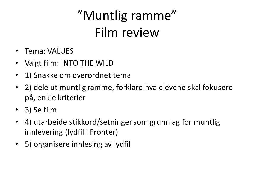 Muntlig ramme Film review