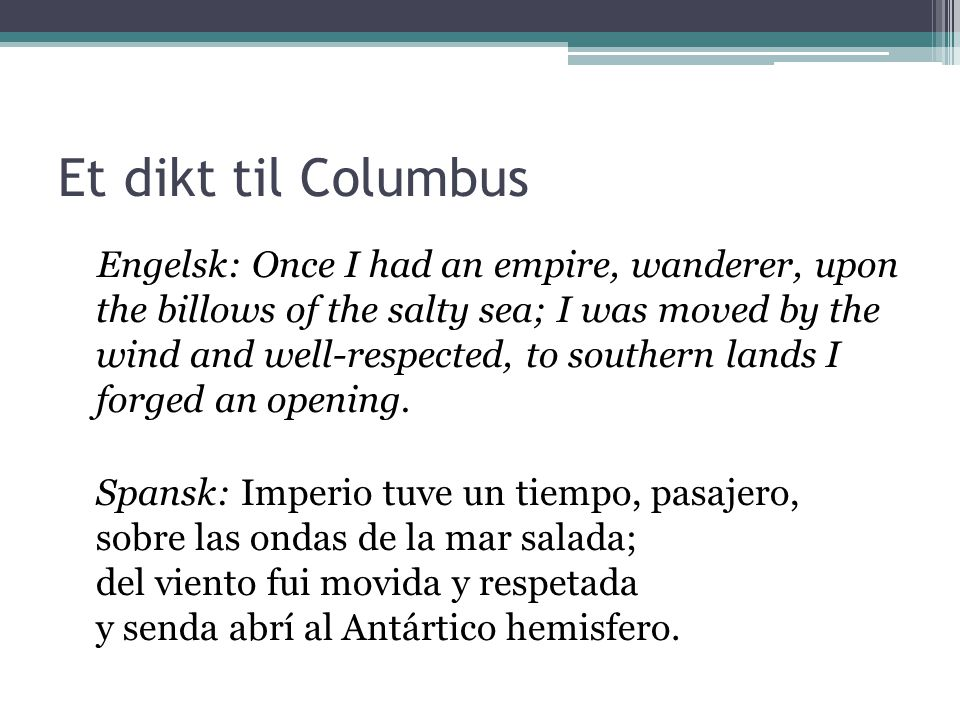 Et dikt til Columbus