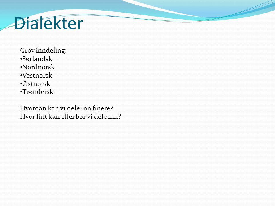 Dialekter Grov inndeling: Sørlandsk Nordnorsk Vestnorsk Østnorsk