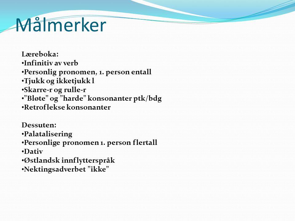 Målmerker Læreboka: Infinitiv av verb