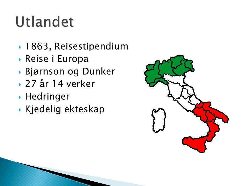 Utlandet 1863, Reisestipendium Reise i Europa Bjørnson og Dunker